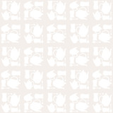 teapot, tea cup and tea spoon seamless pattern