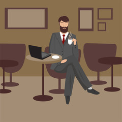 abstract businessman with beard is drinking coffee in a cafe