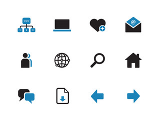 Network duotone icons on white background.