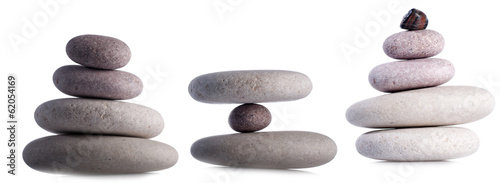 Set fo rocks isolated on white inside studio.