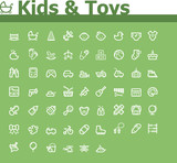 Kids and toys icon set