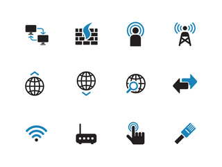 Networking duotone icons on white background.