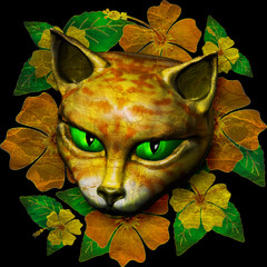 Vintage Golden Cat with Green Eyes