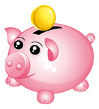 Piggy bank with one coin.