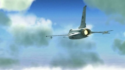 fighter plane in the sky . 3d graphics , vj