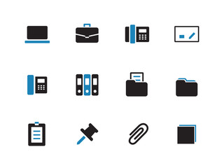 Office duotone icons on white background.