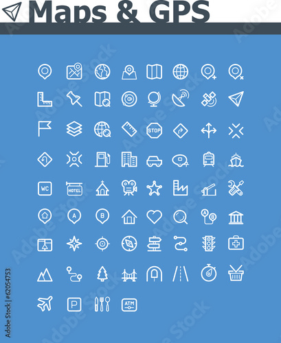 Maps and navigation icon set