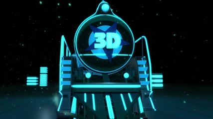 train rides in city . 3d graphics , vj