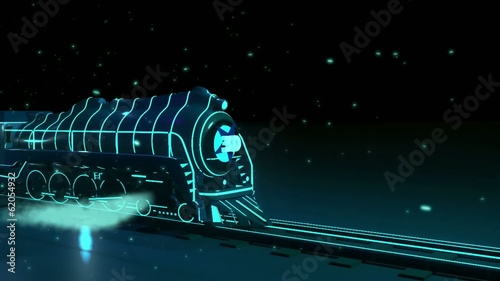 train with neon lights  on black backround. 3d graphics , vj