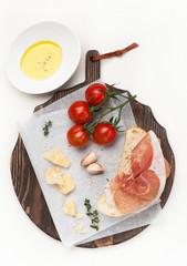 Prosciutto ham, ciabatta, parmesan and olive oil