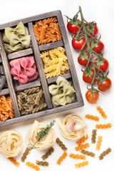 Assorted Italian pasta tomatoes in  wooden box