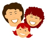 happy retro family with huge smiles