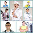 Collage of portraits young handsome man