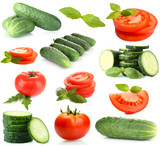 Collage of vegetables isolated on white