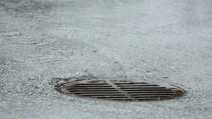 Storm Drain Manhole, Heavy Rain