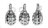 Three silver grenades on white background
