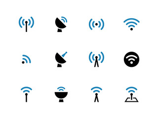 Radio Tower duotone icons on white background.