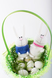 Easter bunnies in a green basket with eggs