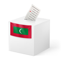 Ballot box with voting paper. Republic of the Maldives