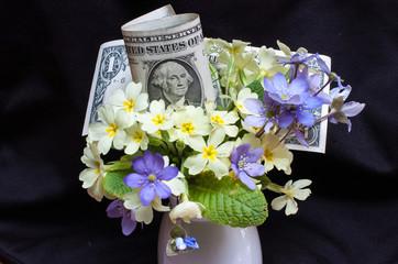 dollaro con fiori