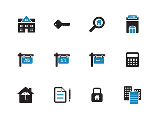 Real Estate duotone icons on white background.