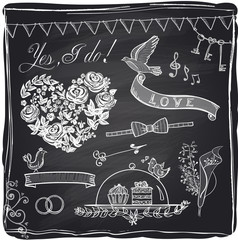 Chalk wedding hand drawn graphic set on a chalkboard.