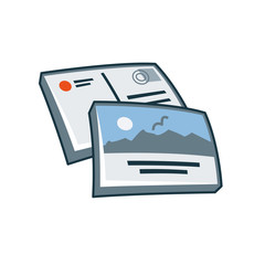 Postcard or greeting card icon in cartoon style