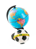 Soccer ball and globe