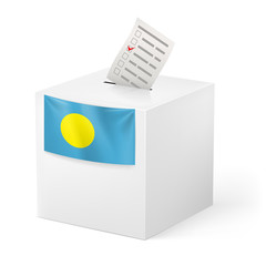 Ballot box with voting paper. Palau