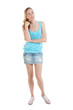 woman wearing jans mini-skirt, blue t-shirt and gumshoes