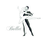 Dancing ballet pair isolated