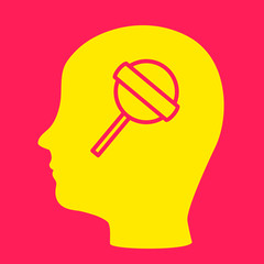 silhouette of a man's head with a  Lollipop.