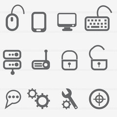 Computer icon set,vector