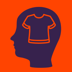 silhouette of a man's head with a  T-shirt.