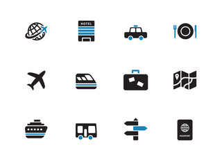 Travel duotone icons on white background.