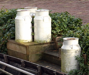 Milk cans ready for transport