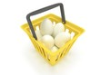 White eggs in shopping basket. 3D.