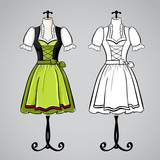 Hand drawn dirndl dress on mannequin.