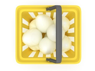 White eggs in shopping basket. 3D.