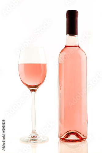 Plexiglas Wijn Bottle and glass of rose wine isolated