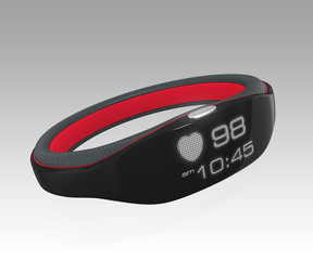 Smart wristband display heart rate and time.