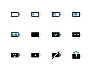 Battery duotone icons on white background.