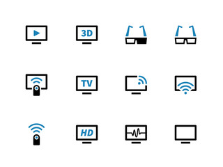 TV duotone icons on white background.