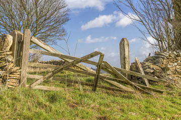 Broken old farm gate