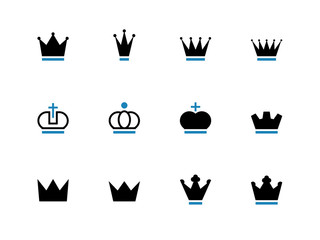 Crown duotone icons on white background.
