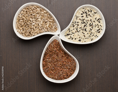 Sesame,flax and sunflower seeds