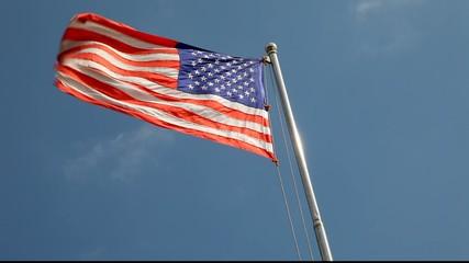 Closeup of the U.S. flag.