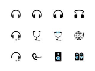 Headphones and speakers duotone icons.