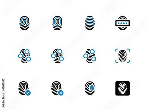 Fingerprint duotone icons on white background.