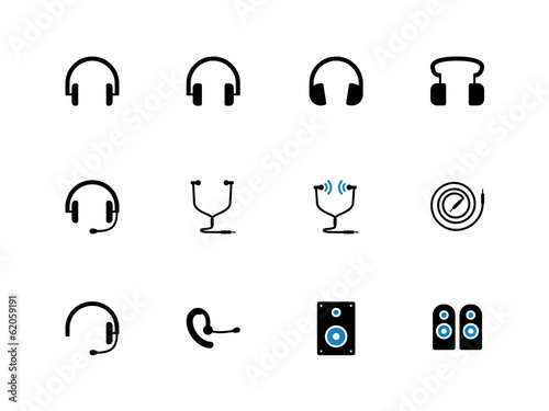 Headphones and speakers duotone icons.